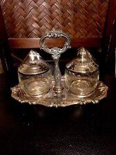 Vintage Sheridan Silver Plate set 3 pcs sugar, creamer oval tray Deco Decor Wow