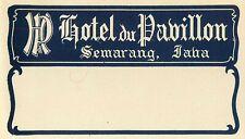 SEMARANG JAVA INDONESIA HOTEL DU PAVILLION OLD LUGGAGE MAILING LABEL
