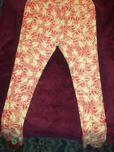 Lularoe TC Tall & Curvy Leggings Disney Mickey Mouse Orange & Cream