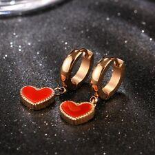 18K Rose Gold Earrings Red Enamel Love Heart Women's Titanium Steel Ear Buckle