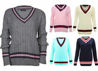 Ladies Cable Knitted V Neck Stretch Cricket Jumper Womens Pullover Sweater Top