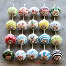 Ceramic Knob Door Drawer Handle Pull Multicolored Knobs Decor Home Cabinet 20 Pc