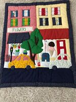 Vintage Quilt 34 X 43 Baby Crib Quilted Embroidered Floral Multi Color