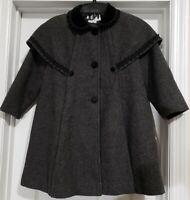 YOUNG GALLERY GIRL'S Dark Gray Wool Coat,Caplet,Black Trim, Velvet Collar, Sz 6