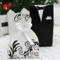 50PCS Black and white suit wedding candy box groom bride dress wedding candy box