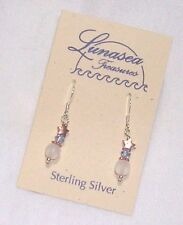 LUNASEA TREASURES WHITE GHOST GLASS COPPER STAR BEADED STERLING SILVER EARRINGS