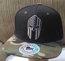 Spartan Blue Line Flag Baseball Cap Black Hat Camo Flat Bill Snapback BLUE LINE