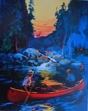 Hunters Canoe Dark Deer in the Sunset vintage art