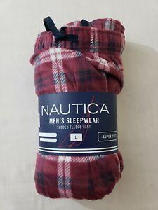Nautica Men's Sleepwear Sueded Fleece Pant Sz Large Red Plaid Zinfandel NWT NIP