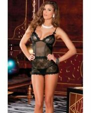 8a465d684 Rene Rofe 2pc Sophisticated Lace Chemise   G-string Set Black S m