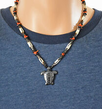 Carved Hematite Turtle Necklace W/Hairpipe Bone & Red Coral, Sterling Clasp, 19""