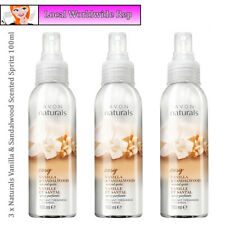 3 x Avon Naturals Scented Spritz Vanilla & Sandalwood Room Body Spray Mist 100ml