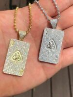 Solid 925 Sterling Silver 14k Gold Ace of Spades Poker Card Diamond Pendant