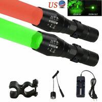 Aluminum Alloy LED Predator Varmint Hunting Light Zoomable Flashlight US Plug