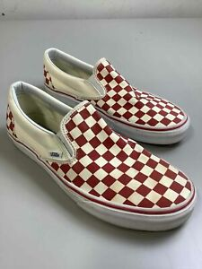 Men's Vans Red Checkerboard Slip On Shoes Size 9.5
