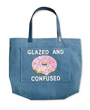 """MACY'S BOW & DRAPE DENIM TOTE BAG """"Donut Glazed and Confused"""" Sequins"""