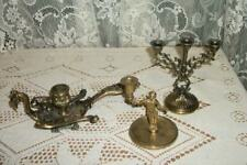 ITALIAN FLORENTINE 3 FIGURAL METAL CANDLE HOLDERS CHIC SHABBY VINTAGE ITALY