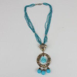 188.1Ct Turquoise Gemstone Pendant Earrings SET 925 Silver Gold Diamond Jewelry