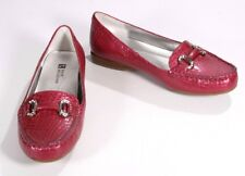 New White Mountain Magenta Pink Leather Croco Embossed Moccasins Loafers Size 6W