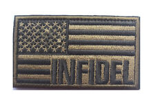 INFIDEL AMERICAN USA FLAG MILITARY TACTICAL MORALE HOOK PATCH EMBROIDERED GRAY