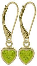 August 1.50 Carat Genuine Peridot Yellow 14K Gold Heart Leverback Earrings