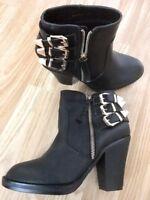 Women Girls Ankle Zip Buckle Heeled Boots Feet Look Gorgeous Size 4