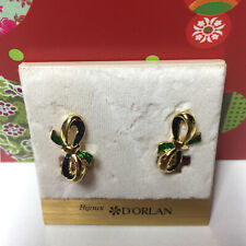 D'ORLAN VINTAGE GOLD GREEN RIBBON CLIP EARRINGS
