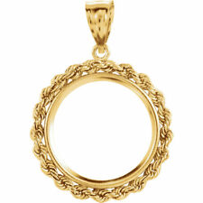 14k Yellow Gold Tab Back Rope Style Coin Bezel ~ Canada 1/4oz Gold Maple Leaf