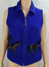 Nitro Women's (S) Blue Boiled Wool Vest with Appliquied Brown Horses Equestrian