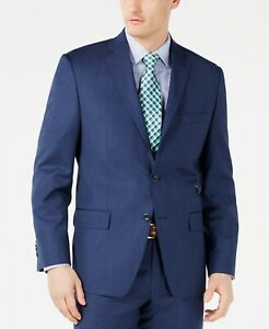 Michael Kors Airsoft Stretch Dark Blue Mini Herringbone Suit Jacket 48L 48 $450