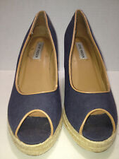 Steve Madden Fabric Navy Tan Trim Peep Toe Slip On Raffia Wedge Sandal Sz 10