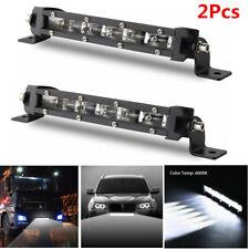 Pair 8'' 60W Aluminum Spot Beam Slim Single Row CREE LED Work Light Bar Off-Road