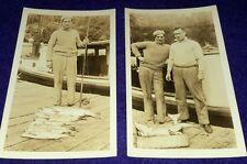 6 Vintage Old 1930's Photos Fashionable Man Fisherman Beret Fishing Pole Boat
