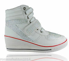 LADIES WOMENS HIGH TOP ANKEL SPORTS WEDGE TRAINERS SLIP ON DIAMANTE SIZE SHOES