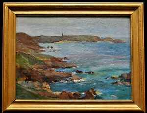 EARLY 20th CENTURY OIL ON BOARD IMPRESSIONIST BEACH SEASCAPE ANTIQUE PAINTING