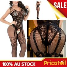 Sexy Strappy Lace Fishnet Black Open Crotch Lace-up Full Body Stocking Lingerie