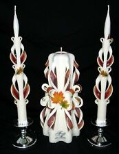 Fall Leaves-Carved Wedding Unity Candle Set- So Lovely!