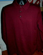 LL Bean Henley Cotton Cashmere Sweater Maroon Mens XL Tall New w/ Tags L3