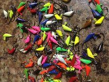 100  Pack Painted 1/32 oz Shad Dart, Ice Fishing, Panfish Choose #8 or #6 hook