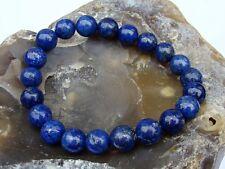 BLUE Men's 10mm LAPIS LAZULI beads Elasticated streachable bracelet
