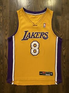 Vintage NIKE Authentic KOBE BRYANT #8 Los Angeles Lakers Home Jersey 44 Large L
