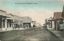 1910 Hand-Colored Postcard; Main Street (First) Lebanon Or Linn County Posted