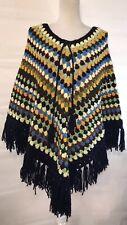 Vintage Handmade Crotchet Women's Poncho Multi-Color Hippy Boho Shawl
