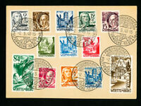 Germany Stamps Wurttemberg Complete Set on Card
