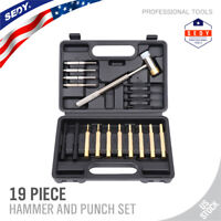 19pc Roll Pin Punch Set Double-Faced Hammer Brass Steel Gunsmith Maintenance