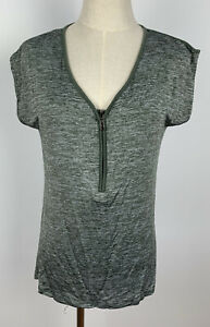 Just Jeans Womens Green Khaki Activewear Training Top Tank Size XS Front Zip