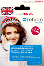 UK Lebara prepaid tourist SIM card incl 1GBP roaming free Cheap data US seller