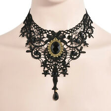 Punk Gothic Victorian Lace Choker Necklace Metal Cameo Jewel Steampunk Cosplay