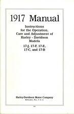 1917 HARLEY DAVIDSON Repair & Maintenance MANUAL - ANTIQUE REPRODUCTION