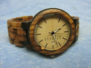 Men's WOOD WELT Wooden Watch w/ New Battery